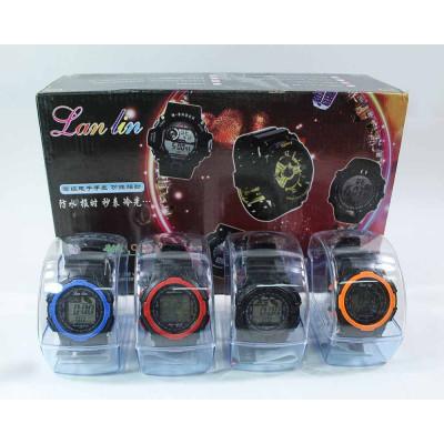 (М)Электронные часы бол. черно-белые (по 10 шт. в уп.) YW825-48 /ящ 240