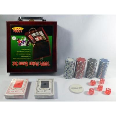 (М) Покер 100 фишек в деревянном чемодане
