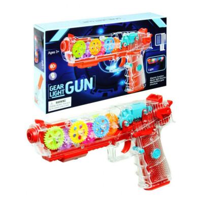 (М)Прозрачный светящийся пистолет с шестеренками