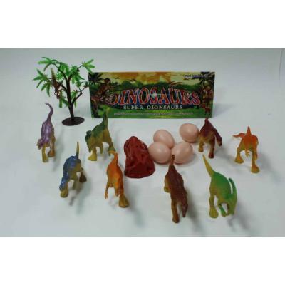Набор из 8 динозавров+яйца, дерево и скала в пакете