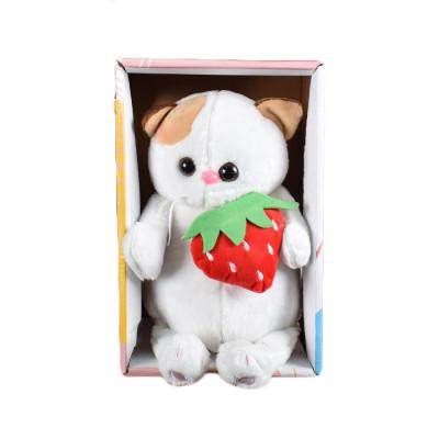 (М)Плюшевый белый кот Барсик в коробочке