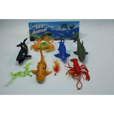Набор из 6  морских животных + растения