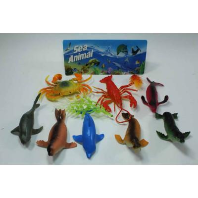 Набор из 8 морских животных + растение