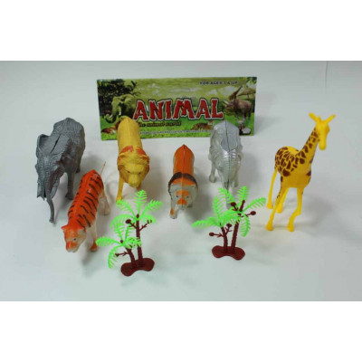 Набор из 6 диких животных+2 дерева в пакете